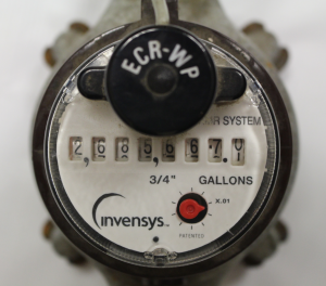 The face of a typical water meter found in homes in Harrisburg. Newer meters have a digital display.